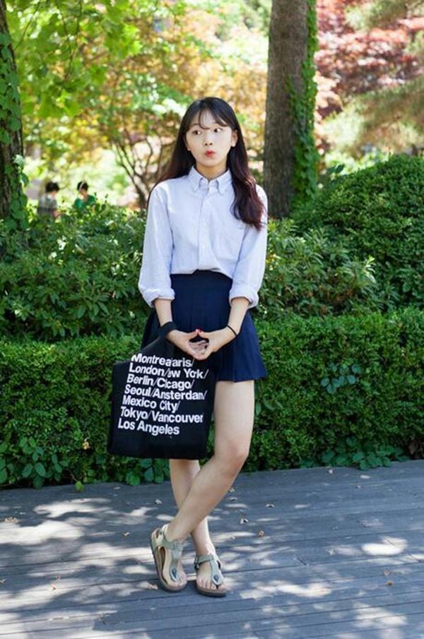 chân váy học sinh hàn quốc