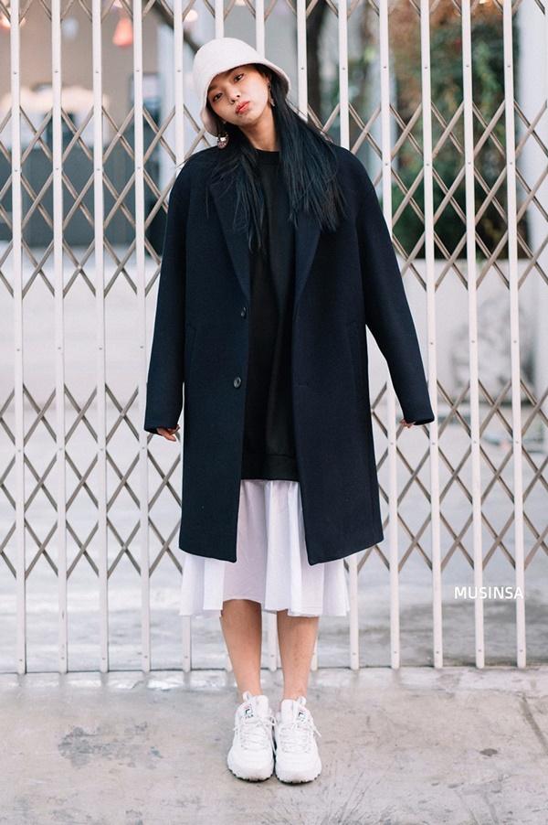 áo khoác dạ dáng suông hàn quốc