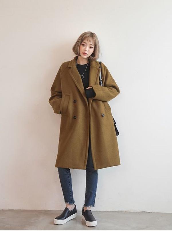 áo dạ khuy gỗ hàn quốc