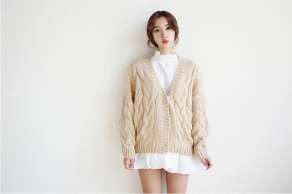 áo khoác len hàn quốc