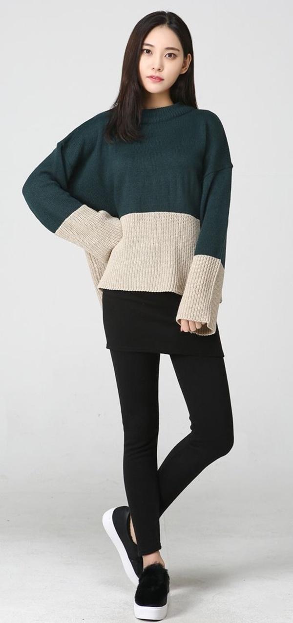 áo len cánh dơi hàn quốc