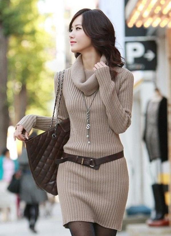 áo len form dài hàn quốc
